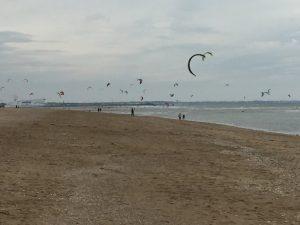 Kite surfing on Merville-Franceville-Plage. It'll never catch on.